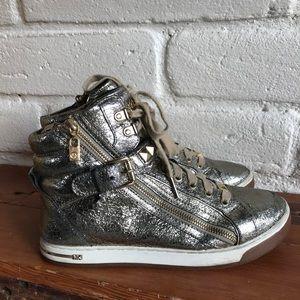 MK Michael Kors Glam Stud High Top Metallic Sneaks